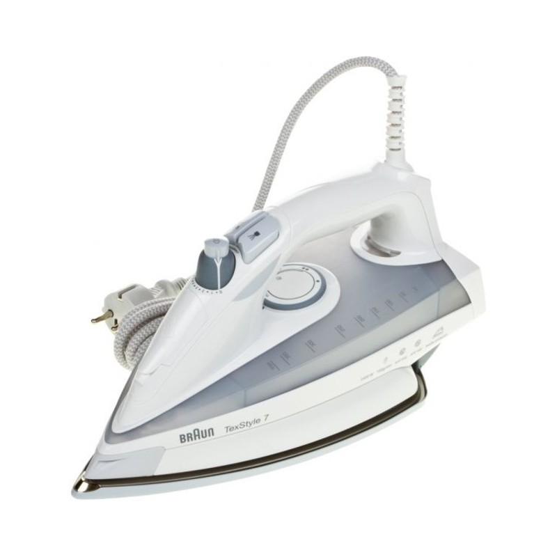 Braun TS735TP Plancha vapor-seco Suela de Eloxal Gris, Blanco 2400 W
